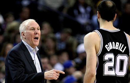Feb 22, 2013; Oakland, CA, USA; San Antonio Spurs head coach Gregg Popovich speaks to shooting guard Manu Ginobili (20) during the third quarter against the Golden State Warriors at Oracle Arena. The Golden State Warriors defeats the San Antonio Spurs 107-101 in overtime. Mandatory Credit: Kelley L Cox-USA TODAY Sports