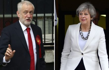 This combination picture shows opposition Labour party leader Jeremy Corbyn (L) voting in north London and British Prime Minister Theresa May voting in Maidenhead on June 8, 2017 during  Polls opened in Britain today in an election Prime Minister Theresa May had expected to win easily but one that has proved increasingly hard to predict after a campaign shadowed by terrorism. / AFP PHOTO / Daniel LEAL-OLIVAS