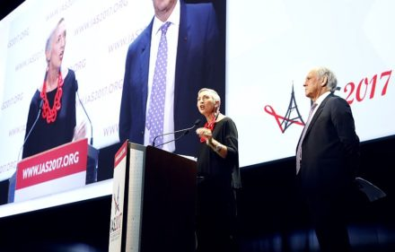 International AIDS Society president Linda-Gail Bekker (L) and President of the French National Ethics Advisory Committee (CCNE - Comite consultatif national d'ethique) and conference chairman Jean-Francois Delfraissy (R) attend the opening of the 9th International AIDS Society conference on HIV Science on July 23, 2017, in Paris. More than 6,000 scientists are gathered in the French capital from July 23 to 26, 2017, to assess advances in AIDS science amid concerns over funds drying up. / AFP PHOTO / FRANCOIS GUILLOT