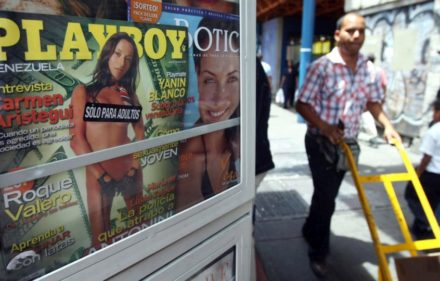 zzzzinte1A Playboy magazine with a picture of Argentine policewoman Maria de Lujan Telpuk on its cover is on display at a kiosk in Caracas, on March 13, 2008. Telpuk is the police officer who in August 2007 found 800,000 US dollars inside a suitcase which Venezuelan businessman Guido Antonini Wilson was illegally trying to get into Argentina, apparently, according to investigations, for the electoral campaign of current president Cristina Fernandez de Kirchner.  AFP PHOTO/Juan BARRETOzzzz