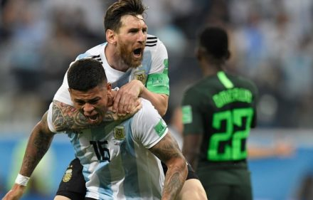 zzzzinte1Argentina's defender Marcos Rojo (lower) celebrates his goal with Argentina's forward Lionel Messi during the Russia 2018 World Cup Group D football match between Nigeria and Argentina at the Saint Petersburg Stadium in Saint Petersburg on June 26, 2018. / AFP PHOTO / GABRIEL BOUYS / RESTRICTED TO EDITORIAL USE - NO MOBILE PUSH ALERTS/DOWNLOADSzzzz