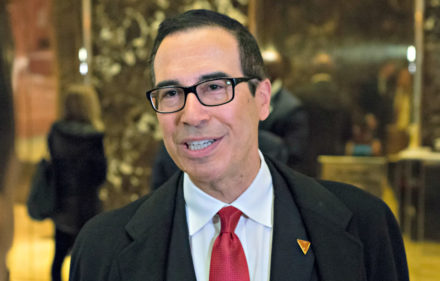 Steven Mnuchin, a contender for the position of Secretary of the U.S. Treasury under the Trump administration, arrives at Trump Tower, in New York, NY, USA on November 30, 2016. (Photo by Albin Lohr-Jones/ABACA USA)
