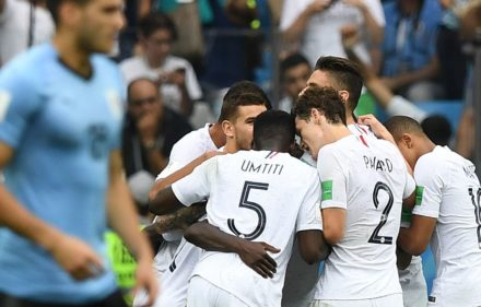 zzzzinte1France's players celebrate their second goal during the Russia 2018 World Cup quarter-final football match between Uruguay and France at the Nizhny Novgorod Stadium in Nizhny Novgorod on July 6, 2018. / AFP PHOTO / Martin BERNETTIzzzz