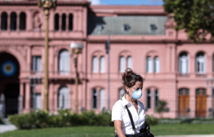 A woman walks at the empty Plaza de Mayo, as a consequence of the measures taken by the Government in the fight against COVID-19, in Buenos Aires, Argentina, 19 March 2020. EFE/ Juan Ignacio Roncoroni